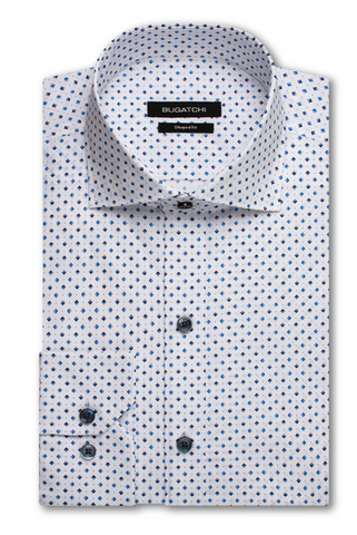 Long-Sleeved White Casual Shirt with Blue and Black Diamonds