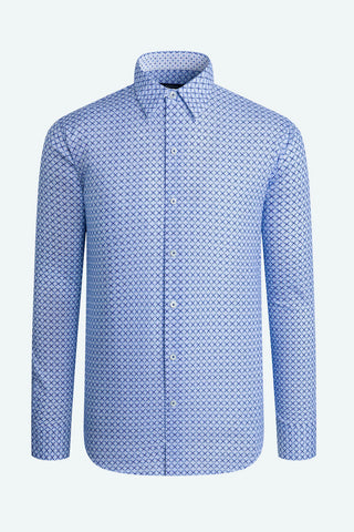 Long-Sleeved Casual Shirt with Two-Tone Blue Geometric Print