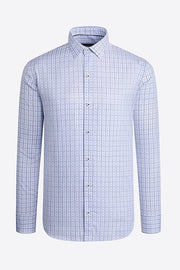 Long-Sleeved, Graph-Check Casual Shirt Sky