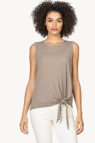 Cotton Crew Neck T-Shirt with Waist Tie Three Colours