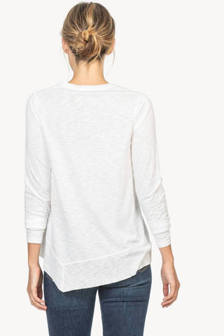 V-Neck with Three-Quarter Sleeves and Ribbed Hem Two Colours