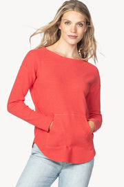 Long-Sleeved, Boatneck T-Shirt with Kangaroo Pouch Poppy