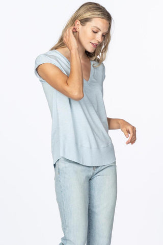 Cap-Sleeved V-Neck T-Shirt with Ribbed Trim Two Colours