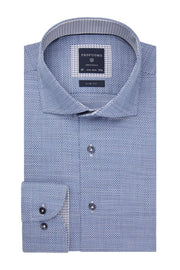 Long-Sleeved Shirt Blue Dobby Weave