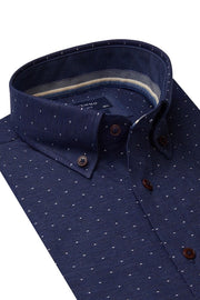 Long-Sleeved, Button-Down Shirt Navy with White Dots