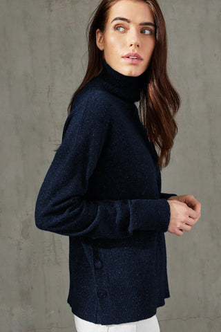 Side-Buttoned, Mock-Necked Sweater Two Colours