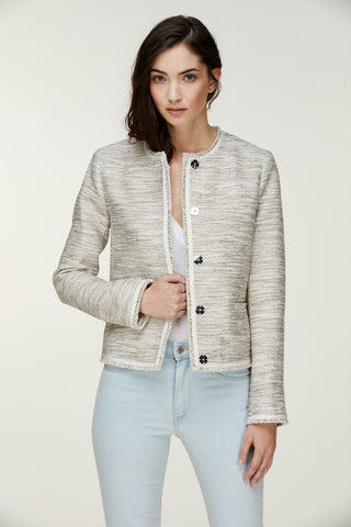 Rakel Cotton-Tweed Soft Jacket Silver