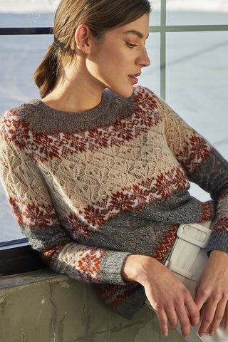 Cropped, Crew Neck Sweater with Jacquard Pointelle