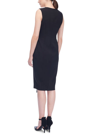 Sleeveless Stretch-Crepe Wrap Dress Black