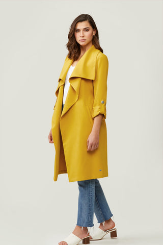Ornella-N Knee-Length Coat with Cascade Collar