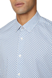 Long-Sleeved, Diamond-Print Shirt Light Blue or Navy