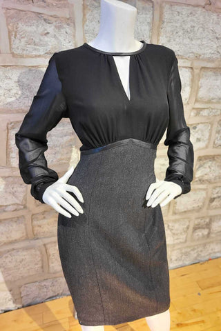 Long-Sleeved, Two-Tone Stretch Dress with Chiffon Sleeves Charcoal