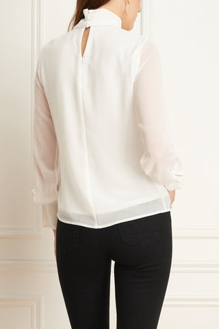 Chiffon Blouse With Mock Neck Ivory or Black