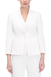 High-Neck Soft Jacket with Side Slits Ivory