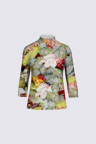The April Top with Three-Quarter Sleeves Sage-Green Floral Print