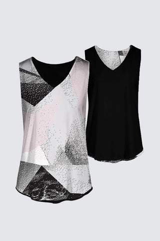 The Kaplan Tank Top Pink and Black Geo-Print