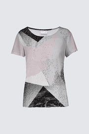 The Smith Cap-Sleeved Geo-Print Top Pink and Black