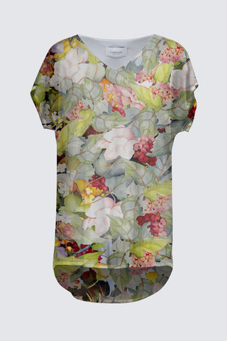 The Sylvie Cap-Sleeved Top Sage-Green Floral Print