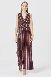 Sleeveless Striped Jumpsuit with Belt