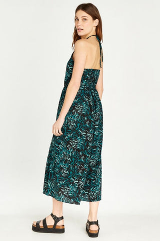 Leaf-Print, Halter-Neck Jumpsuit Black