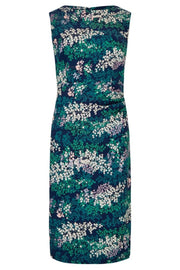 Fern-Print, Side-Ruched Dress Navy