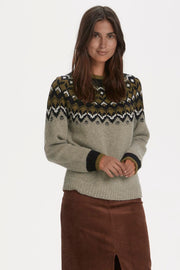 Etly Nordic-Style Sweater Artwork Grey