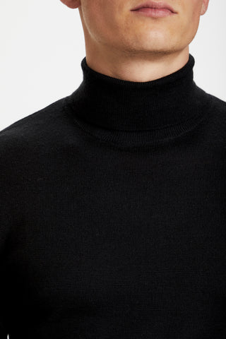 Long-Sleeved Roll-Neck Sweater Black