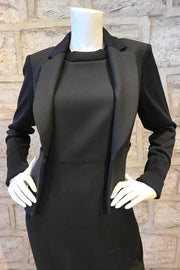 Cropped Blazer With Knit Sleeves Black or Banker Grey