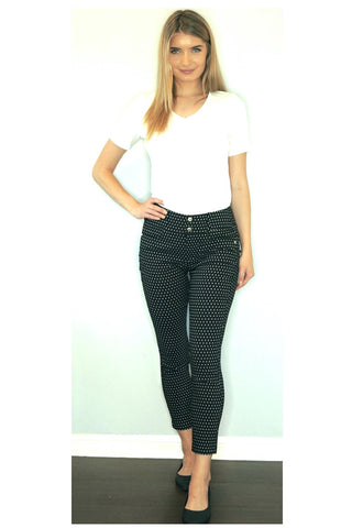 Cropped Pant in Black Prada Twill with White Dot