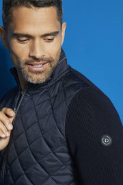 Quilted Knit Jacket with Hidden Hoodie Navy