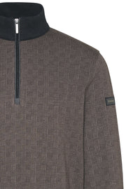 Quarter-Zip Warm-Up Sweater Taupe-Grey Prince of Wales Plaid
