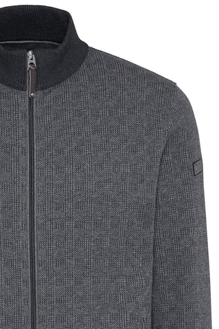 Full-Zip, Mock-Neck Sweater Prince of Wales Grey Plaid