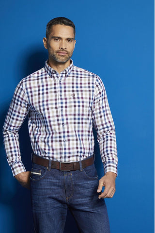 Long-Sleeved, Button-Down Sport Shirt Violet Check