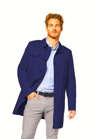 Lightweight, Button-Up Water-Repellent Coat Navy