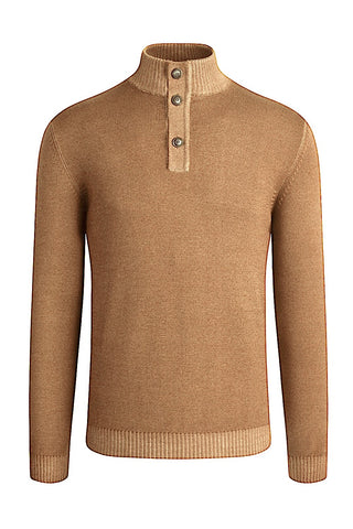 Long-Sleeved, Quarter-Button Mock-Neck Sweater Camel