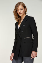 Carlina-B Double-Breasted Long Soft Jacket Black
