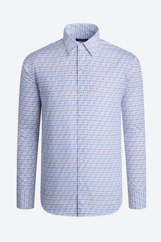 Long-Sleeved Casual Shirt Chalk with Split-Circle Print in Blue and Tan