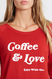 "Chelsea ""Coffee & Love"" Long-Sleeved Shirt Lychee Red"