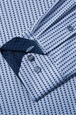 Long-Sleeved, Geometric-Print Performance Sport Shirt Ice Blue