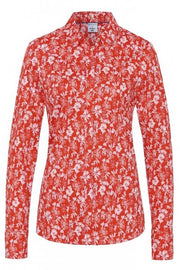 Pia Long-Sleeved Knit Shirt Red Floral