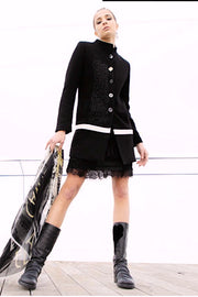 Fingertip-Length Embroidered Coat Black