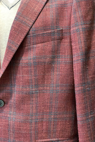 Two-Tone Check Sports Jacket Berry