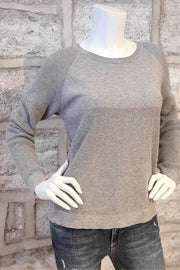 Cotton Crew-Neck Sweater with Waffle-Stitch Detail Grey
