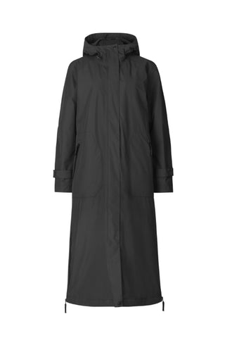 Midi-Length Waterproof Coat With Stand Collar Black