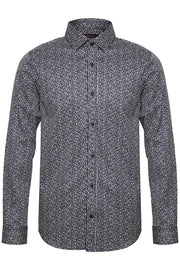 Trostol Long-Sleeved, Dual-Print Casual Shirt Ink Blue
