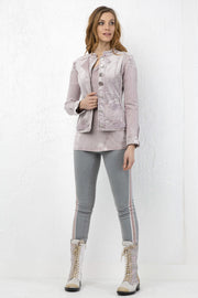 Bomber-Length Soft Jacket Lavender Blush