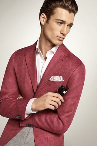 Wool-Silk-Linen Sport Coat Berry