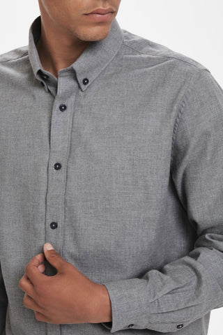Jude Button-Down Long-Sleeved Casual Shirt Grey