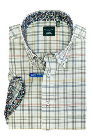Short-Sleeved Casual Button-Down Shirt Pastel Checks on White