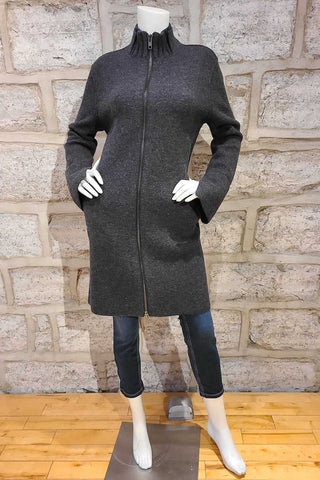 Zipper-Front Wool Blanket Coat Charcoal